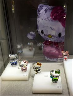 This Swarovski Four Shades of Hello Kitty presentation is the latest Kitty White styles and colors in Leaded Crystal by that famous design house. Visual Merchandising, Lava Lamp, Hello Kitty, Swarovski, Presentation, Table Lamp, Shades, House Design, Fancy