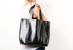 Black Leather Tote Bag  Over Size Shoulder Bag  Women by maykobags