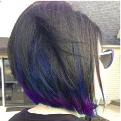 I want my hair cut and colored exactly like this, except with just purple underneath.\n\n This peacock inspired bob looks amazing, but you can wear it on every hairstyle you have, no matter if you have long or short hair, if you are looking for something refreshing and bold for your hair – this is it!