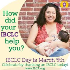 An International Board Certified Lactation Consultant (IBCLC) is a healthcare professional with clinical expertise and skill in breastfeeding and lactation management.  Did an IBCLC help you, or someone you know, be successful at breastfeeding? We'd love to hear your story!