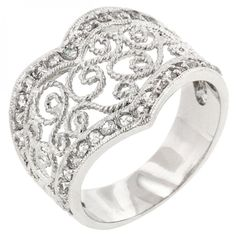 Cubic Zirconia Filigree Hearts Ring – MNM Gifts