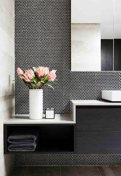 Black and white modern bathroom. Luxury Hotel Bathroom, Pretty Box, Australian Homes, Interior Stylist, Colour Schemes, Christmas Home, Vanity, Modern Bathrooms, Tiles