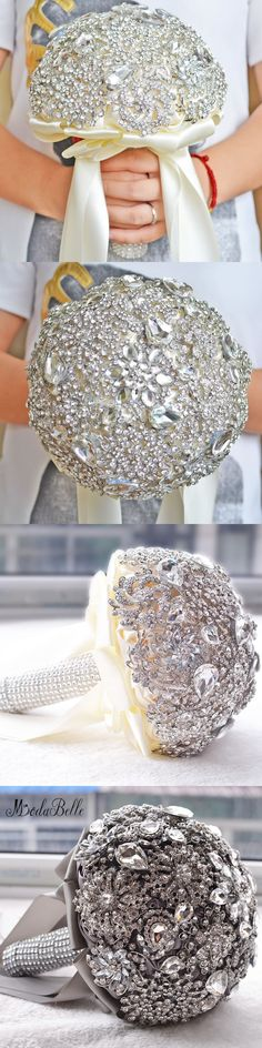 modabelle Gray Ivory Wedding Bouquets Luxurious Crystal Silk Wedding Flowers Bridal Bouquets Ramos De Novia Wedding Accessories