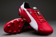 Puma Football Boots - Puma evoSPEED 1.2 M FG - Firm Ground - Soccer Cleats - Tango Red-White - Size UK 12