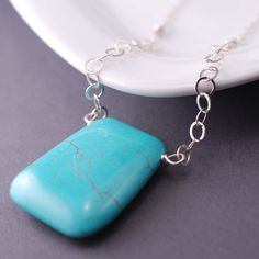 Turquoise Necklace, Chunky Necklace, Turquoise Jewelry, Big Pendant Necklace, Sterling Silver. $44.00, via Etsy.