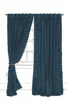 anthropologie - parlor curtains - smocked and fabric covered buttons border