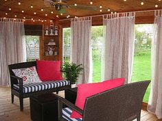 cheap DIY outdoor curtain rods- I would really like to have a outdoor room with glass and screen doors for the walls and curtains and it could be opened to really be outside or closed for cold weather.
