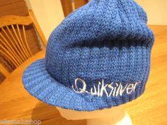 Men's Quiksilver beanie cap hat surf skate surf royal blue white logo NEW NWT