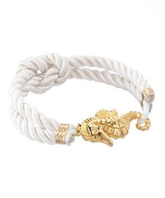 Look what I found on #zulily! White & Goldtone Seahorse Nautical Knot Bracelet #zulilyfinds
