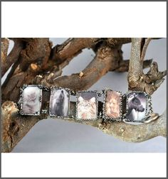 Bracelet made with Art Clay Silver, UV Resin and photographs of my animals