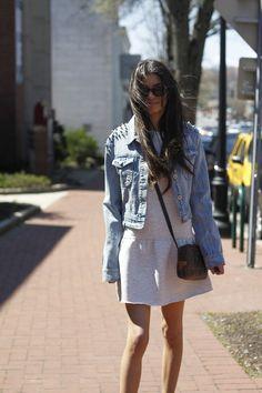 #spikedjacket #zaradropwaistdress #vintagelouisvutton #raybanwayfarers #blogger #nyblogger #fashionblog #style