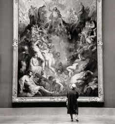 Rijksmuseum, Amsterdam, 1960's. Photo by Fritz Henle -  A visitor in front of The Last Judgement, 1617 painted by Peter Paul Rubens