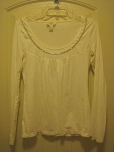 Ann-Taylor-LOFT-Small-Long-Sleeve-Embellished-Cotton-Top