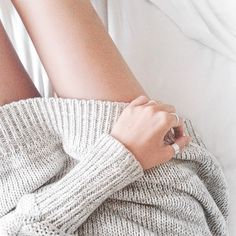 comfy sweater + rings.