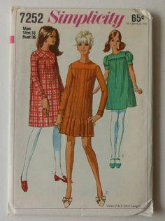 Vintage Dress Pattern UNCUT Simplicity 7252 by latenightcoffee