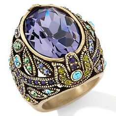 Signed Heidi Daus Large Tanzanite Color Crystal Pave Green Blue Ring Sz 5 6 New | eBay