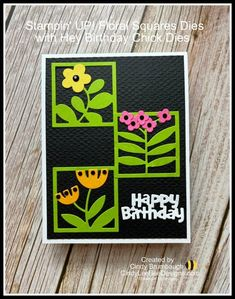 Bee Design, Square Card, Card Tags, Flower Cards, Homemade Cards, Stampin Up Cards, Making Ideas, Cardmaking, Birthday Cards