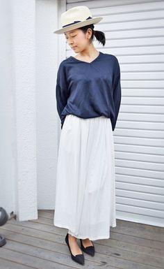 夏に着たい爽やかコーデ♪アラフォー(40代)女性におすすめのスカーチョの着こなし♪                                                                                                                                                     もっと見る
