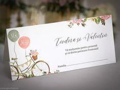 Plic bani Vintage bicycle 5736 Place Cards, Place Card Holders, Floral, Vintage, Flowers, Vintage Comics, Flower