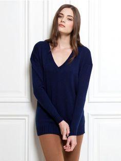 100% Cashmere V Neck Ribbing Sweater-Cashmere 1873.COM