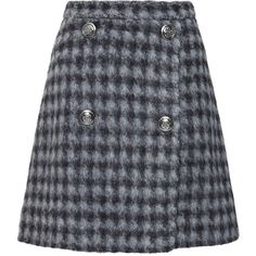 Kalmanovich Check Plaid Mohair Skirt ($790) ❤ liked on Polyvore featuring skirts, checkered skirt, tartan wrap skirt, checked skirt, tartan skirt and grey skirt