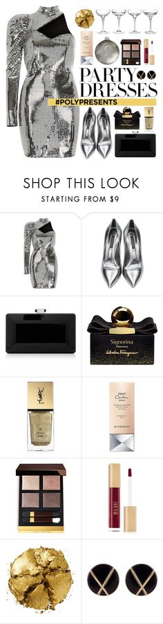 """""""#PolyPresents: Party Dresses"""" by yoa316 ❤ liked on Polyvore featuring River Island, Casadei, Judith Leiber, Salvatore Ferragamo, Yves Saint Laurent, Givenchy, Pat McGrath, Botkier, contestentry and polyPresents"""