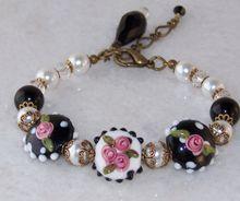 Vintage/ Victorian Styled Lampwork Art Glass Brass Bracelet- Handmade Jewelry Gift for Her