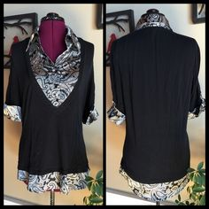 """3/$20 professional blouse  pick 2 more 3/$20 items for a custom bundle! Black knit vest with silky , faux button-up,collared shirt, 2 in 1. Black and white paisley """"under"""" shirt with functioning buttons. Excellent for professional office wear or classy outfits. Size M Willi Smith Tops Blouses"""