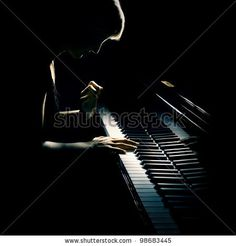 stock photo : Pianist musician piano music playing. Musical instrument grand piano with woman performer.