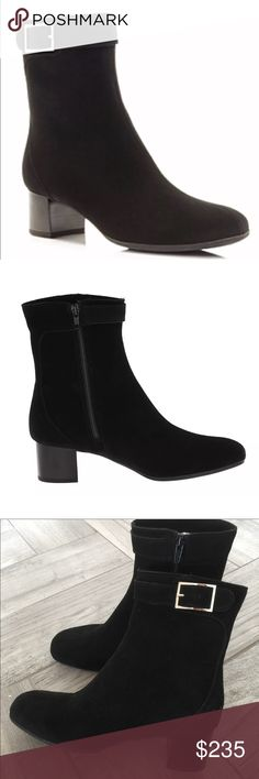 """New La Canadienne Jasmin black waterproof boots ·         Material: Regular Suede Upper And Man-Made Outsole ·         Canada ·         Suede ·         The La Canadienne Jasmin Boots Feature A Suede Upper With A Square Toe     Measurements: 1.75"""" heel /6"""" shaft  Condition:   New without box for cheaper shipping  Retail Price:   $395  Stock #:  AMR9-134 la canadienne Shoes Ankle Boots & Booties"""