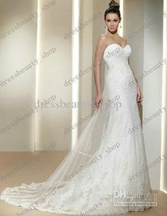Marvelous Appliques Tulle Strapless Sweetheart Court Train Dreamy Romantic Sexy Mermaid Summer Fall Beach Wedding Dress