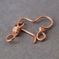 Hammered Copper Heart Clasp w/Eye Link, Handmade Jewelry Findings, 18 gauge - OWC: