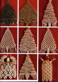 """Képtalálat a következőre: """"macrame Christmas ornaments"""" Macrame Art, Macrame Projects, Macrame Knots, Macrame Jewelry, Christmas Craft Fair, Christmas Ornaments, Yarn Crafts, Diy And Crafts, Macrame Curtain"""
