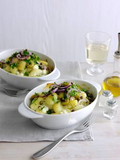 Creamy gnocchi with olive, parsley and caper salad