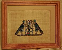 Framed Egyptian Papyrus paper with 2 falcons by Gingerjonestown