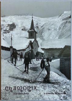 Vintage Travel Poster - Chamonix Mont-Blanc - Le dimanche des Pionniers - Affiche photo d'après Tairraz (ca 1980).