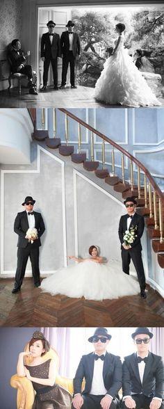 Gil and Gary of Leessang photobomb Haha & Byul's wedding photos #kpop