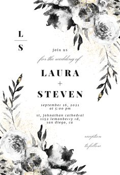 Smokey Flowers - Wedding Invitation #invitations #printable #diy #template #wedding Wedding Borders, Free Wedding Invitations, Response Cards, Text Messages, Wedding Flowers, Reception, Printable, Island, Diy