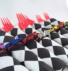 Race Car Party Flatware - Race Car Theme Party Cutlery, Racing Car Birthday Party Silverware, Construction Party Supplies