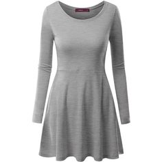 Doublju Womens Long Sleeve Round Neck Flared Skater Dress ($11) ❤ liked on Polyvore featuring dresses, longsleeve dress, long-sleeve skater dresses, flare skater dress, long sleeve dress and flared dresses