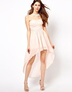 Enlarge Rare Dip Hem Chiffon Bandeau Dress