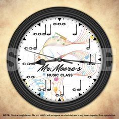 A great addition to any home, classroom or office. Also makes a great gift idea for any musician, student or music teacher. A unique personalized music notes decorative wall clock. Music Clock, Musician Gifts, Class Notes, Music Decor, Music Notes, Plastic Case, Classroom, Clear Glass, Hanger