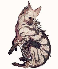 Another hyena an aardwolf this time - giulialibard Cute Animal Drawings, Animal Sketches, Cute Drawings, Drawn Art, Creature Drawings, Creature Concept Art, Fox Art, Sand Art, Animal Design