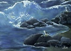 Seagulls on the Rocks - closeup image from a painting by  Ave Hurley now available at Imagekind starting at $9.49