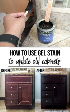 to Use Gel Stain - Update Cabinets Without Sanding Wow! No sanding! No stripping? This is amazing! How to use gel stain and update old cabinetsWow! No sanding! No stripping? This is amazing! How to use gel stain and update old cabinets Stained Kitchen Cabinets, Old Cabinets, How To Stain Cabinets, Restaining Cabinets, Updating Cabinets, How To Stain Wood, Painted Oak Cabinets, Black Distressed Cabinets, Cabinet Stain Colors