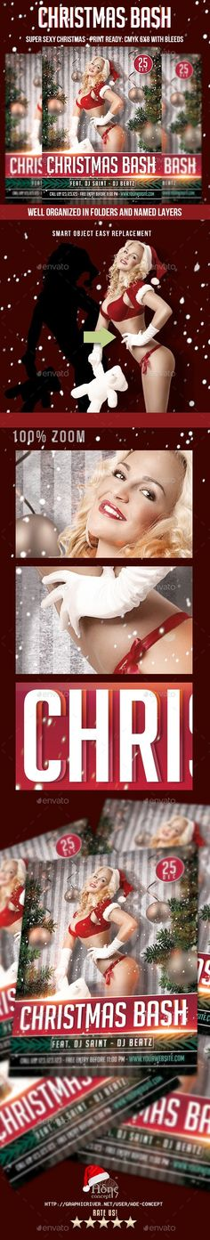 christmas, christmas bash, Christmas Celebration, christmas flyer, christmas paty, disco, merry christmas, night club, santa, santa claus, snow, xmas party Christmas PinUp Flyer is designed for those clubs who wants to promote their christmas event in a cool and sexy way. You can replace the model with another one, or using the isolation work, perfectly matched with the photo used (not included). The mood is inspired by a retro design concept, mixed with the latest Digital Design…
