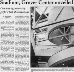 "Post (Athens, Ohio) September, 2001, page 4: ""Stadium, Grover Center unveiled"". ""Grover Center on West Green has been under renovation since 1996. The College of Health and Human Services began moving in the completed facility the last week of May"". :: Ohio University Archives"