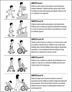 The Gross Motor Function Classification System (GMFCS) describes the range of abilities in gross motor function seen in children with cerebral palsy. GMFCS levels I and II walk independently GMFCS level III require a hand-held mobility aid such as crutches or a walker and may use a wheelchair for distances. GMFCS levels IV and V usually have more limitations in self-mobility and require a wheelchair.