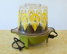 Vintage Popcorn Popper, West Bend Electric, Yellow Flower Power, Avocado Hippie Kitchen, Brady Bunch Decor by SentimentalFavorites on Etsy