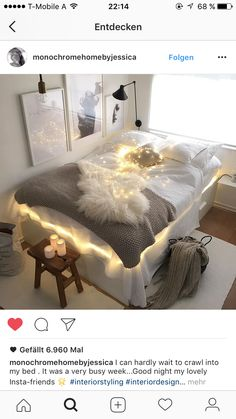 Image uploaded by 𝕛𝕒𝕟𝕚𝕟𝕒. Find images and videos about home, light and room on We Heart It - the app to get lost in what you love. We Heart It, Tumblr Rooms, Light Crafts, Cozy Bed, Bedroom Styles, Scandinavian Interior, Dream Bedroom, Room Inspiration, Bean Bag Chair